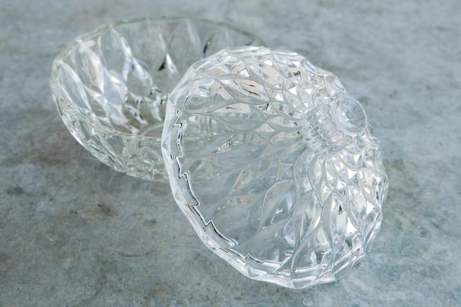 ICCAの日本のアンティークのレトロな果物のような蓋つきのガラス鉢