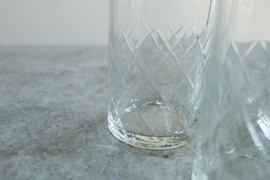 ICCAの日本のアンティークのレトロな切子ガラスのロンググラス