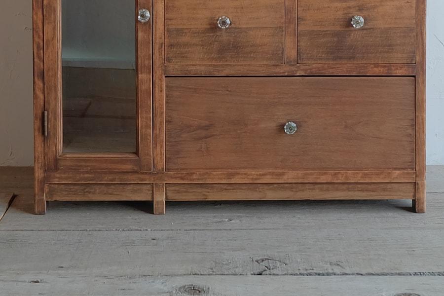 ICCAの日本のアンティークの大理石の天板のケヤキ材のカウンターテーブル