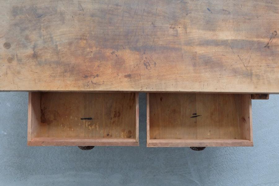 和のアンティークの真鍮の取手のセンターテーブル