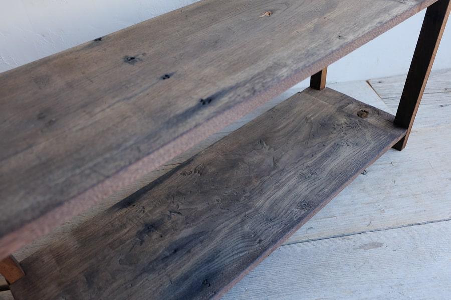 ICCAの日本のアンティークの栗の五段のオープンラック