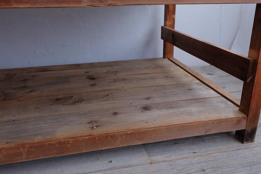 ケヤキの細身な作業台