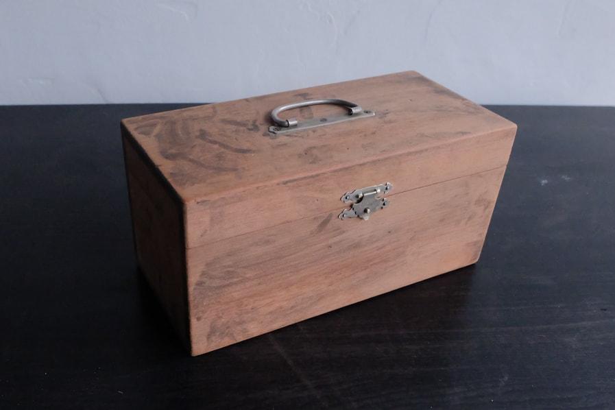 ICCAの日本のアンティークの大正ロマンの小さい道具箱