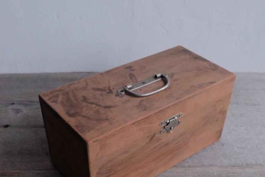 ICCAの日本のアンティークの昭和レトロの小さい道具箱