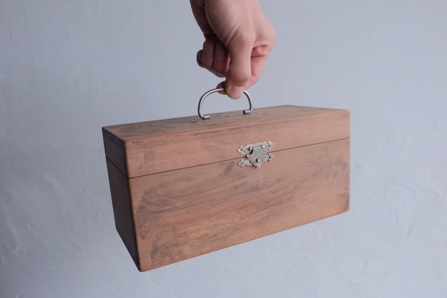 ICCAの日本のアンティークの骨董の小さい道具箱