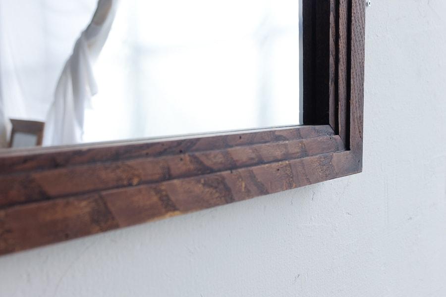 ICCAの日本のアンティークの木製フレームの栗の鏡