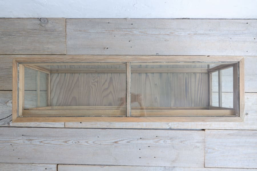 日本のアンティークのガラスショーケース